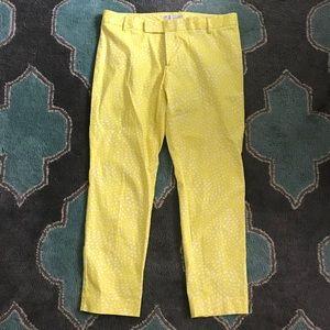 GAP Slim Cropped Pants Yellow White Womens 10